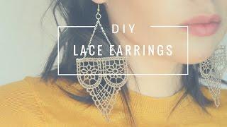 DIY elegant earrings | How to make earrings with lace