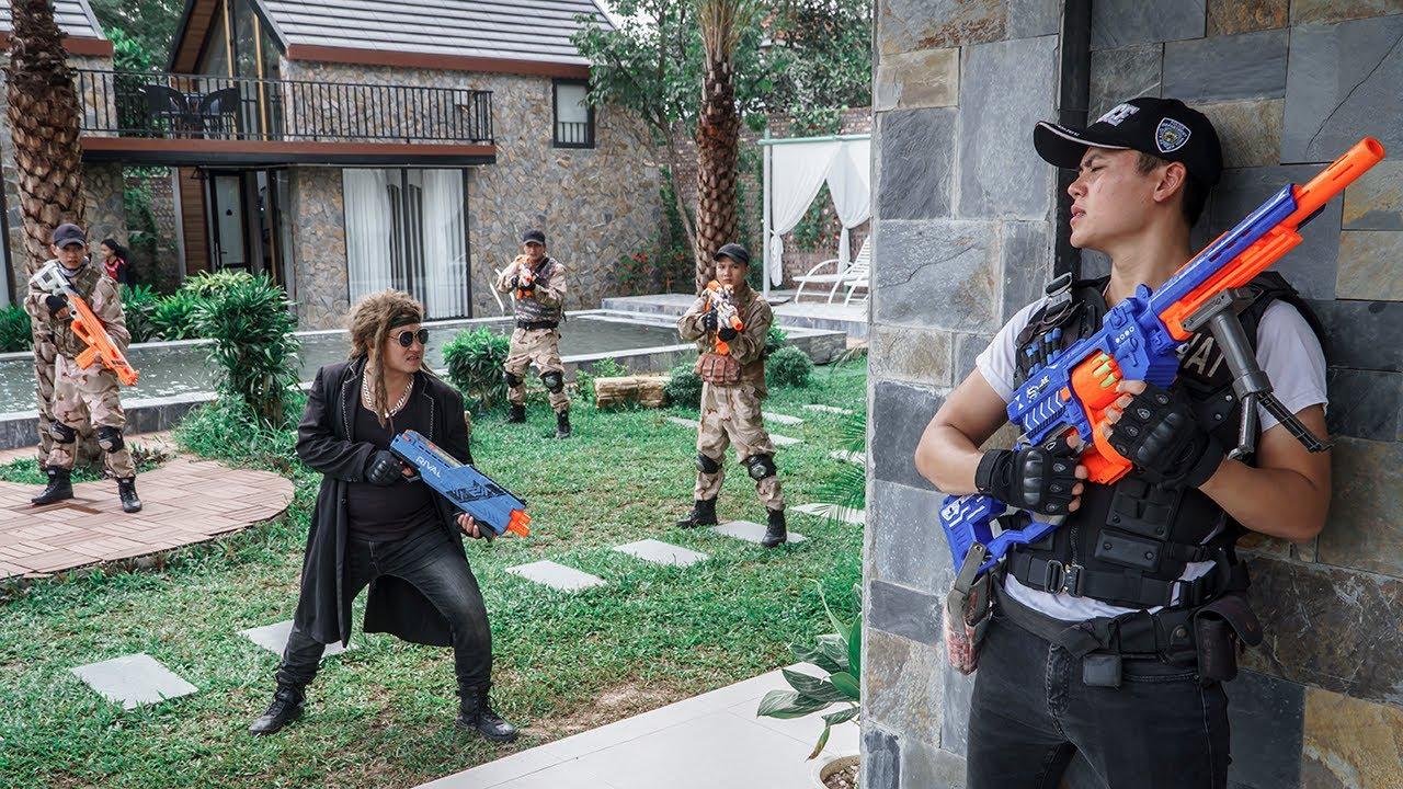 LTT Game Nerf War : Warriors SEAL X Nerf Guns Fight Clever Thief And Group Rocket Crazy