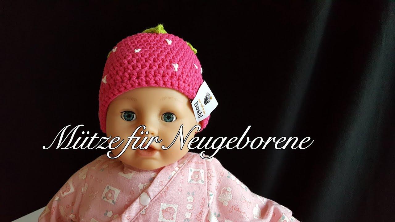 Mütze für Neugeborene Erdbeerboshi Häkelanleitung Babymütze selber ...