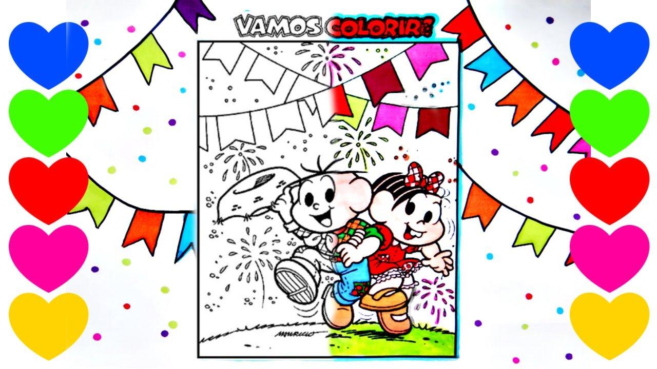 Desenho Junino Para Colorir Com A Turma Da Monica Colorir Sao