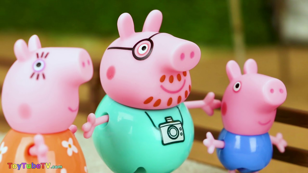 Peppa Pig & Family Visit the Safari Ltd Zoo - Educational Animal Learning Video for Kids