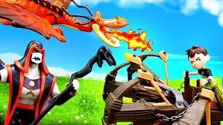 Видео про игрушки из мультфильмов. Бен 10 в мире драконов!