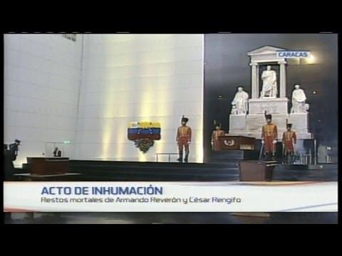 Acto del traslado de los restos de Armando Reverón y César Rengifo desde el Panteón Nacional