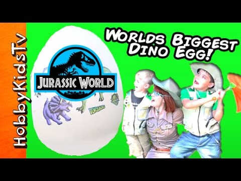 Giant JURASSIC WORLD DINOSAUR Egg! Toy Surprises with HobbyB