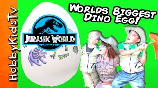 Worlds Biggest JURASSIC WORLD DINOSAUR Egg! Surprises + HobbyBobby Lego by HobbyKidsTV