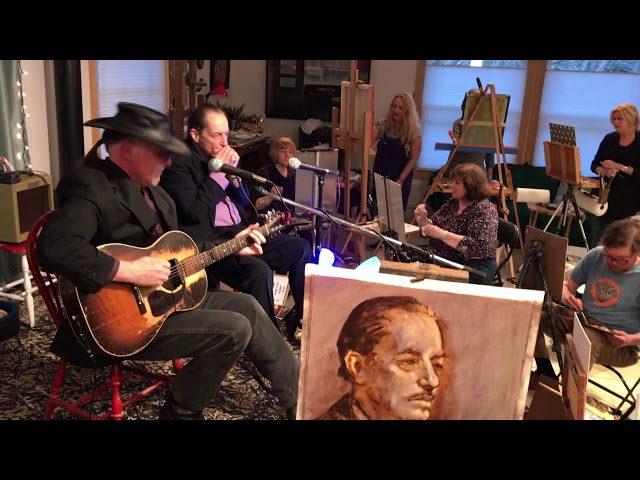 Legendary Blues Harpist Jerry Portnoy performs for group of artists.