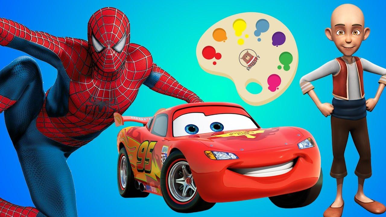 şimşek Mcqueen örümcek Adam Keloğlan Boyama Ile Renkleri öğren