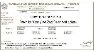 2018 Intermediate Halltickets Download online Inter 1st Year And inter 2nd year Halltickets