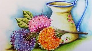 Do Desenho a Pintura – Hortênsias e Jarro de Porcelana