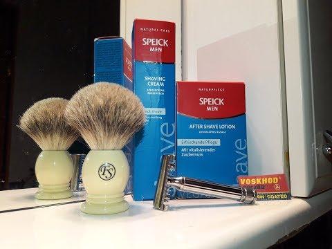 Бритье. Fatip Grande, Speick shaving cream, Voskhod blade, FS badger brush, Speick lotion. Review