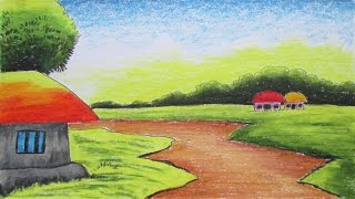 How to Draw a Village Landscape with Oil Pastels | Episode-2