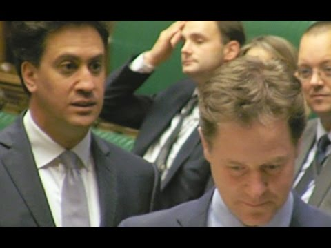 Miliband and Clegg joke in Commons