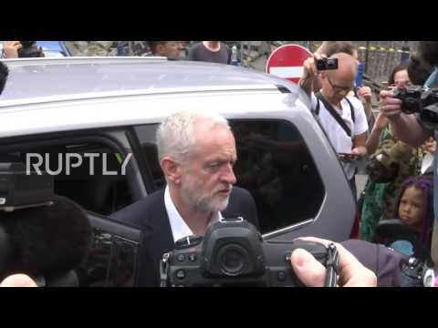 UK: Labour leader Corbyn visits victims of Grenfell Tower fire
