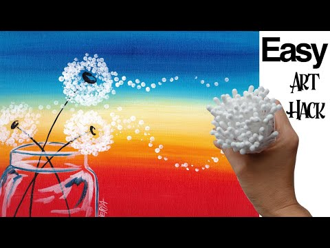 🌹 Dandelion Sunset  Cotton Swabs Painting Technique For BEGINNERS EASY Acrylic Painting