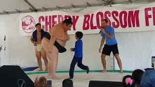 Sumo Champion Yama vs 8 year old boy