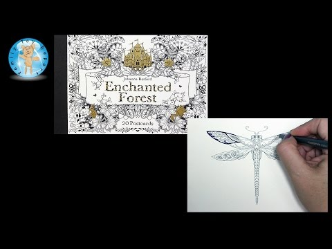 Enchanted Forest Johanna Basford Adult Coloring Book Postcards Dragonfly