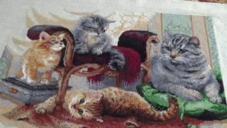 """Вышивка крестом:RIOLIS 1327""""Милашные котята""""Завершенная работа."""