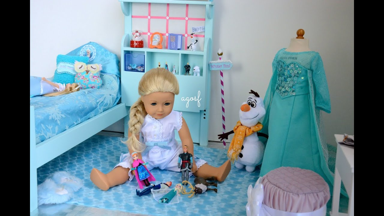 Lovely American Girl Doll Disney Frozen Elsau0027s Bedroom ~ Watch In HD!   YouTube