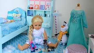 American Girl Doll Disney Frozen Elsa's Bedroom!