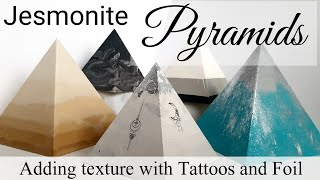 Jesmonite Pyramids with Tattoos, Foil and Floating Pigment