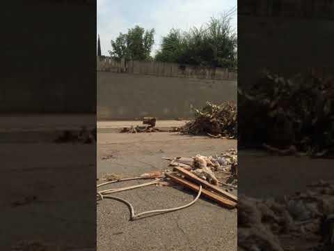 Santa Fe Avenue In Fresno California Garbage Dump On City Road