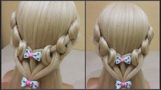 прически для девочек.🐱Красивое и супер легкое плетение волос.👍Hairstyles for girls. Easily. Fast