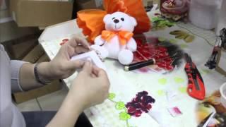 как сделать букет из одной мягкой игрушки