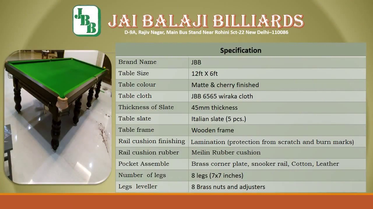 JBB snooker table IT 1 - YouTube