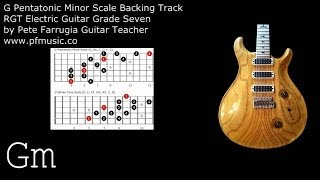 Guitar Backing Track G Pentatonic Minor Scale (and D Whole Tone Scale) - Grade Seven