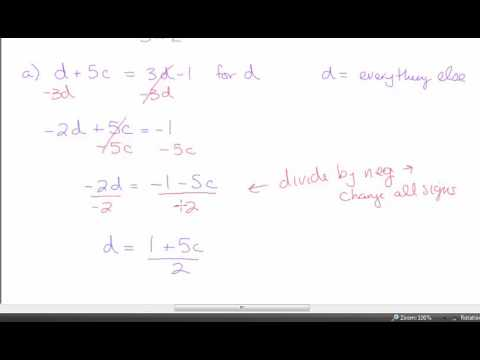 Glencoe Algebra 1 - Chapter 2 - Section 8 - Literal Equations and  Dimensional Analysis