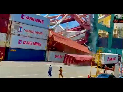 Containership Takes Out Cranes at Kaohsiung Port in Taiwan