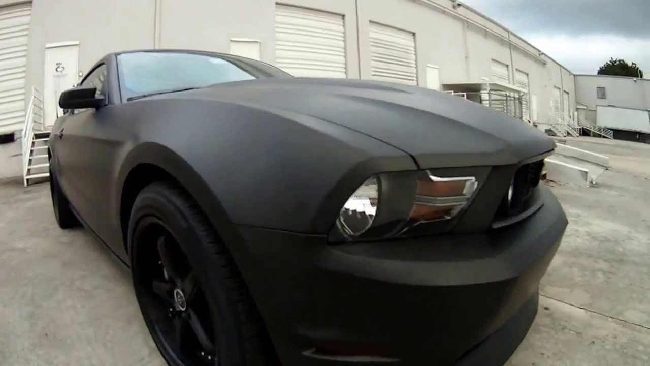 ford mustang 3m matte black car wrap miami florida youtube