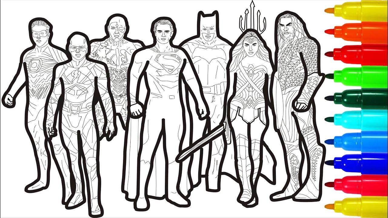 Justice League Coloring Pages | Wonderwoman Superman Flash Batman Coloring Pages
