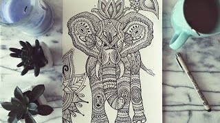 Elefante Zentangle Time Lapse