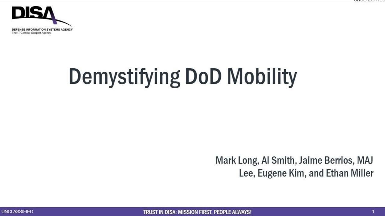 Demystifying DoD Mobility Panel