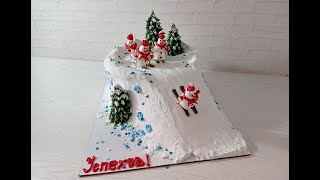украшение ЗИМНЕГО ТОРТА торт на Новый Год Торт СНЕГОВИКИ на ГОРКЕ Украшение БЗК WINTER CAKE