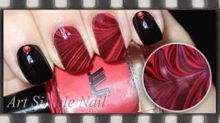 Черно-красный маникюр с водой | Водный маникюр Мраморный | Water Marble Manicure
