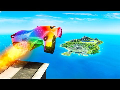 Jumping FERRARI CARS Across ENTIRE GTA 5 RP! (Record)