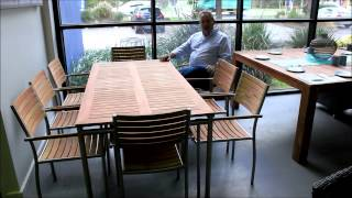 Outdoor Furniture From Outdoor Living Direct | Consuela 9 Piece Stainless Steel & Teak Dining Set