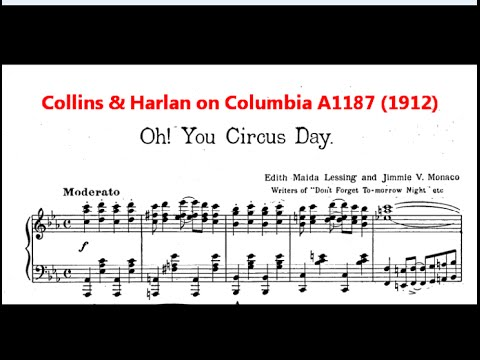 """Arthur Collins & Byron G. Harlan """"Oh! You Circus Day"""" on Columbia A1187 (1912)"""