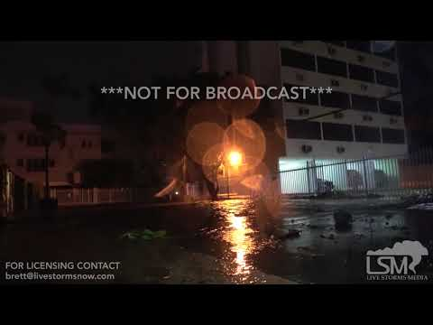 09-06-2017 - San Juan, PR - Hurricane Irma big waves, palm tree damage as Irma winds down