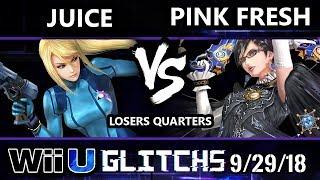 Glitch 5 Smash 4 - Juice (ZSS) Vs. VGBC | Pink Fresh (Bayonetta) Wii U Losers Quarters