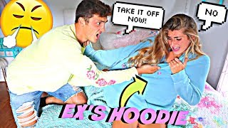 Wearing My EX BOYFRIENDS Hoodie To See How My Boyfriend Reacts! *He Ripped it*