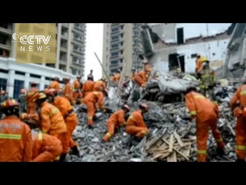 Rescue footage: At least 10 dead in multiple-building collapse in E China