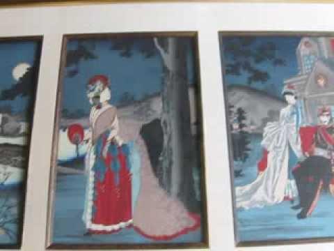 Chikabobu Triptych print Emperor Meiji in Cool Evening