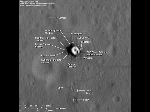 Apollo 11 landing site - deconvolved and enhanced LRO images