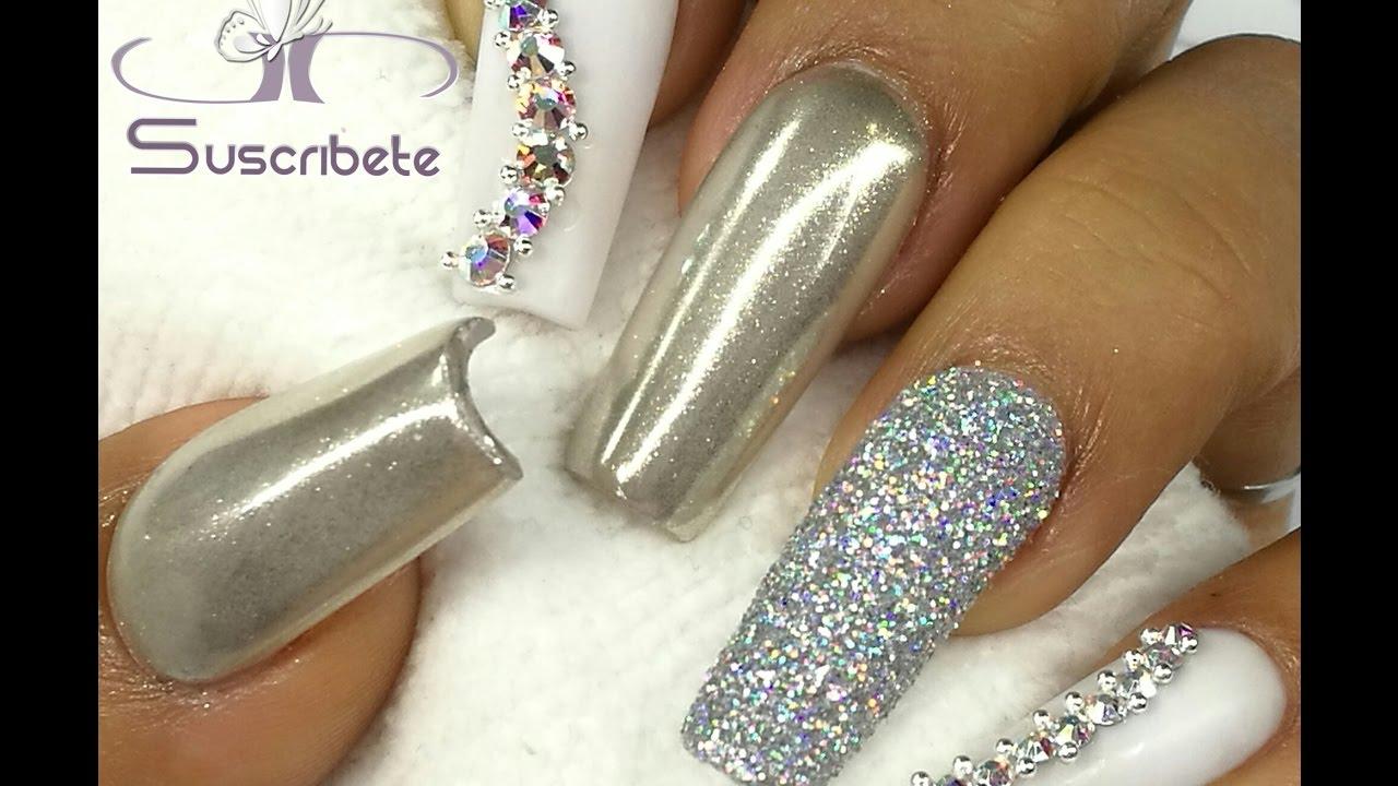Uñas Elegantes Para Fiesta Blanco Y Plata Colaboración Acinorev Nails Designs