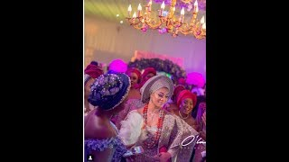 See Actor Gabriel Afolayan's Wife Majestic Entrance To Their Wedding As Actresses Cheer Her Up