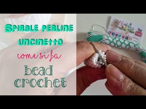 SPIRALE PERLINE UNCINETTO tutorial COME SI FA: tecnica passo a passo - bead crochet how to