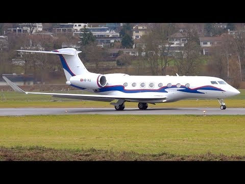 Gulfstream G650 HB-IVJ Take-Off at Bern bound for the Bahamas